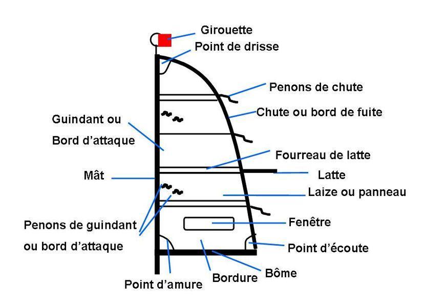 Les Differents Greements Le Reglage D Une Voile La Bordure Le Cunningham Le Hale Bas Culture Maritime